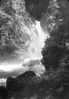 [Waterfall on Schuyler Creek at the upper end of Coquitlam Lake]