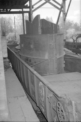 [Metal equipment in a rail car at Vancouver Engineering Works]