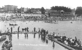 Bathing beach, English Bay, Vancouver, B.C. [showing small boat dock]