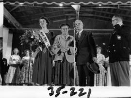 Nancy Hansen on Outdoor Theatre stage after being named Miss P.N.E. 1954