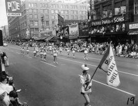Girls drill team in 1955 P.N.E. Opening Day Parade