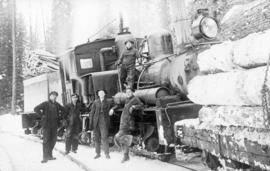 50 ton shay locomotive [Crow's Nest Pass Lumber Co.] at Galloway, B.C. [loaded with logs]