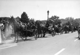 [Procession of horse drawn carriages at the rededication of Stanley Park]