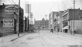 [View of Hastings Street, between Abbott and Cambie Streets, looking west towards Court House gro...