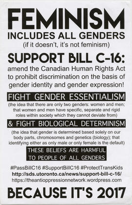 Feminism includes all genders : support Bill C-16