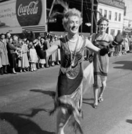 Parade in Victoria : late 1950's : front, man in drag