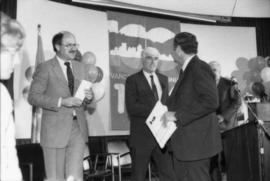 Mike Harcourt, Ed Lumley and unidentified man