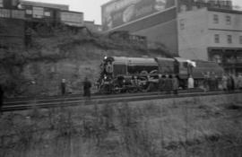 "[Engine of the ""Royal Scot"" on tracks below the station]"