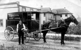 [Shelly's Bakery horse-drawn van and delivery man]