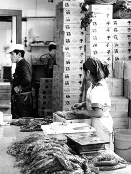 Cannery work, packing fish roe for export to Japan, B.C. Packers cannery