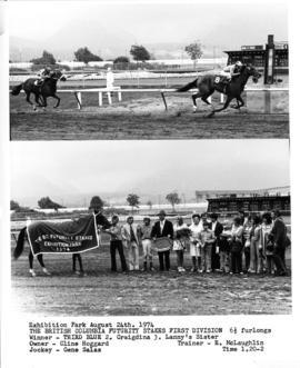 The British Columbia Futurity Stakes First Division : [2 photographs of horse race and winner&#03...