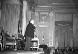 Premier Pattullo making a speech at the Hotel Vancouver during the 1941 Provincial election campa...