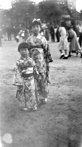 Two Japanese children in traditional costume