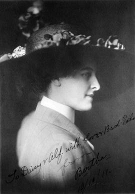 "[Signed portrait of Layne's fellow actress, ""Bertha, October 10, 1911""]"