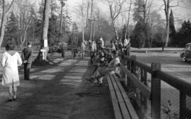 [Golfers and spectators on the first tee at Stanley Park Golf Course]