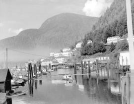 [View of marina and buildings, Ocean Falls, B.C.]