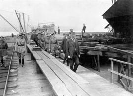 [Inspection of wooden ship building site]
