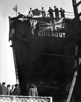 "Ceremony platform [for S.S. ""Chilkoot"" (II) launching at Victoria Machinery Depot]"