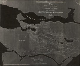 Map showing trial lines for electric tramway between New Westminster and Vancouver B.C. (annotate...