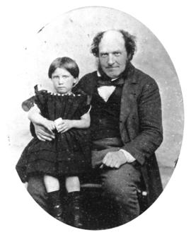 [Studio portrait of James Clephan and his niece Mary C. Elgood]