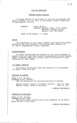 Council Meeting Minutes : July 24, 1979