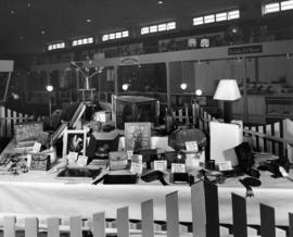 Display of leathercraft entries in 1958 P.N.E. Hobby Show