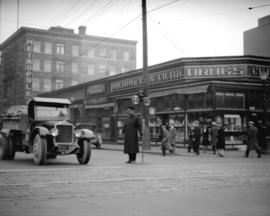 Constable Duncan McTavish at the intersection of Abbott and Hastings Street operating hand traffi...
