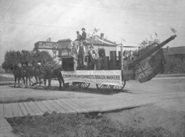 [The Armstrong and Morrison Engineers, Machinists and Boiler Makers' Dominion Day float at the co...
