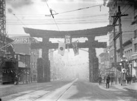 [Japanese arch near Hastings and Main Streets, erected for visit of Duke and Duchess of Connaught]