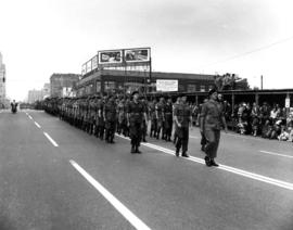 Soldiers in P.N.E. parade heading north on Burrard Street, near Pender Street