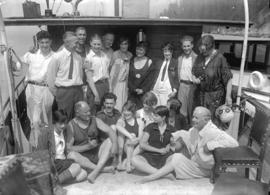 "F. Lyons and party on boat ""Myola"""