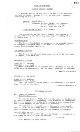 Council Meeting Minutes : Aug. 1, 1978