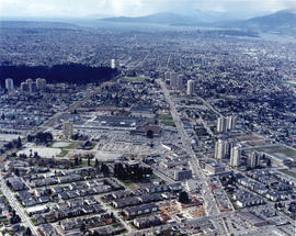 [Aerial view looking west over Burnaby towards Vancouver]
