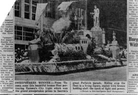Photograph of newspaper clipping about Tacoma (Wash.) Public Utilities float in Seattle (Wash.) P...