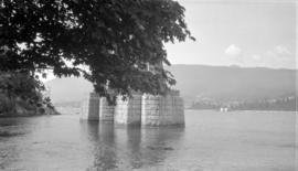 [View of a Lions Gate Bridge pier and Prospect Point]