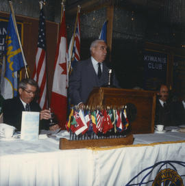 Robert Gordon Rogers speaking at the Kiwanis Club Centennial luncheon