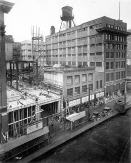 [The extension to the Woodward's Store at Hastings Street and Abbott Street under construction]