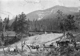 [View of the first enclosure of the hot springs on Sulphur Mountain]