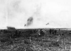 Looking back from the front at Vimy. German prisoners hurrying to safety