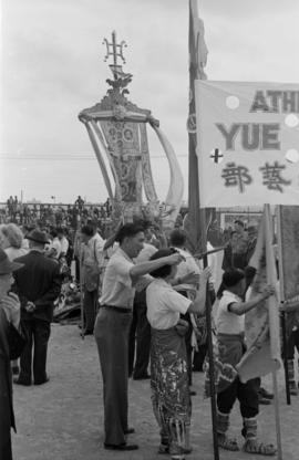 [Parade of Chinese associations on the Cambie Street Grounds during VJ Day celebrations]