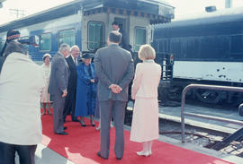 Mayor Harcourt and Becky Harcourt greet Jeanne Sauvé and Maurice Sauvé at Canadian Pacific Station