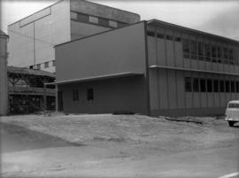 Construction of new office building: exterior of completed building