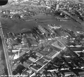 [Aerial view of West Coast] Shipyards [at] False Creek