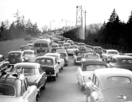 [Traffic on approach to Lion's Gate bridge]