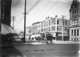 [View of the 500 block of Granville Street looking north from Dunsmuir Street]
