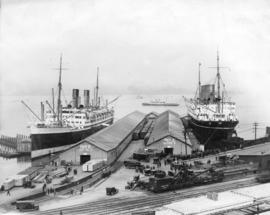 "CPR Pier A [CPR steamships moored at Pier ""A""]"