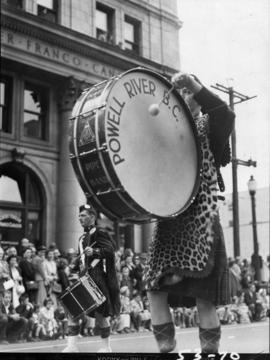 Powell River, B.C. pipe band in 1953 P.N.E. Opening Day Parade