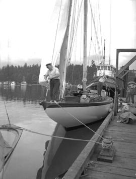 "Royal Vancouver Yacht Club [showing] Harold Jones [and others onboard] ""Spirit"""