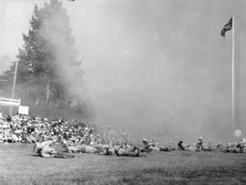 [The Edmonton Fusiliers putting on a smoke screen demonstration at the Narvaez Pageant at Amblesi...