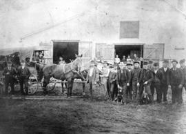 [The Royal Mail and passenger stage in front of the barn on the southeast corner of Chatham Stree...